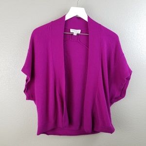 Nordstrom Purple Cashmere Open Front Sweater S/M
